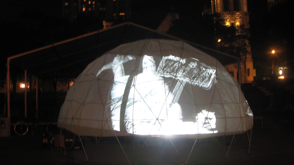 Minneapolis Art On Wheels, Collaborative dome projection. Peavey Plaza, The UnConvention, Northern Lights.mn