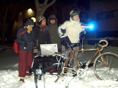 Maiden projection voyage to MCAD courtyard. Gear operates at -20 degrees F!