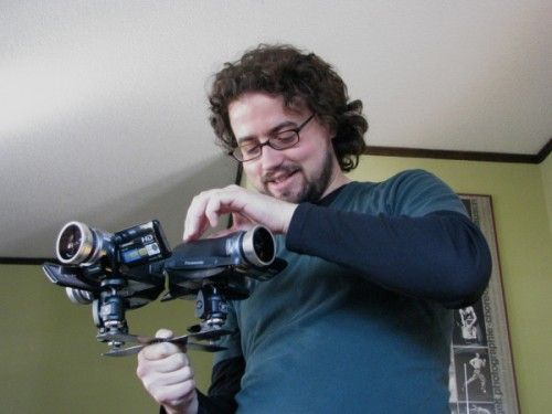 Kevin Obsatz with modified tripod head for 4-camera shooting