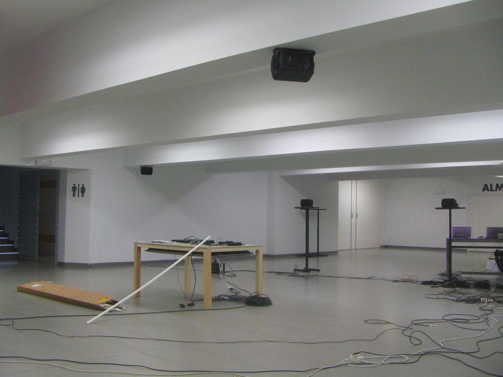 "Piotr Szyhalski's audio work ""White Star Cluster"" is in the interstitial space between floors."