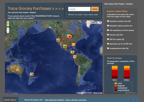 Arlene Birt, Visualizing Sustainability: Tracing Grocery Purchases (screenshot)