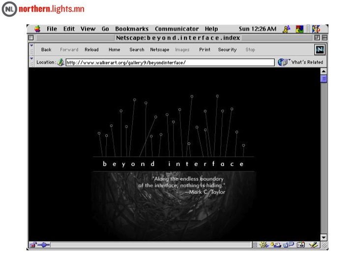 "<a href=""http://yproductions.com/beyondinterface/bi_fr.html"" target=""_blank"">Beyond Interface: net art and Art on the Net</a>, 1998"
