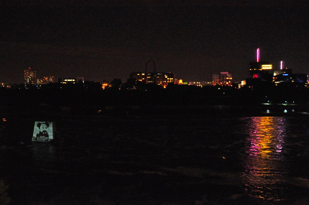 Projection view from the Stone Arch Bridge. Photo Aaron Marx