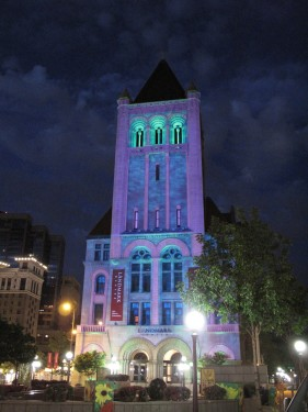 Projection on North Tower of Landmark Center. Photo Michael Murnane
