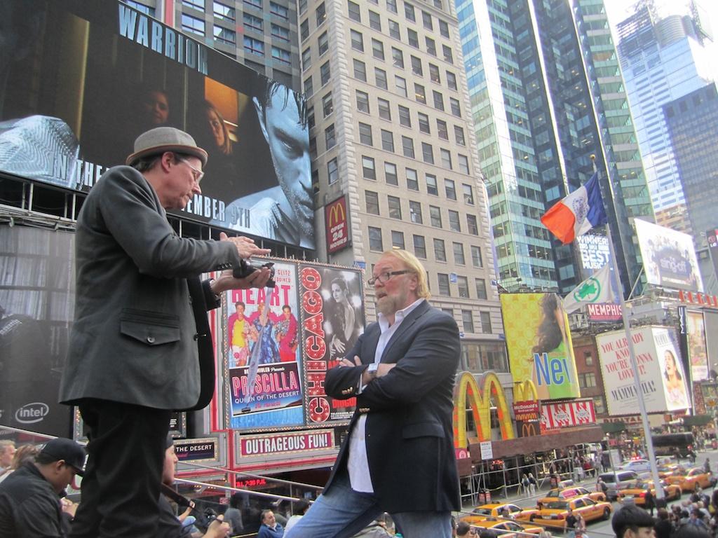 Times Square as backdrop