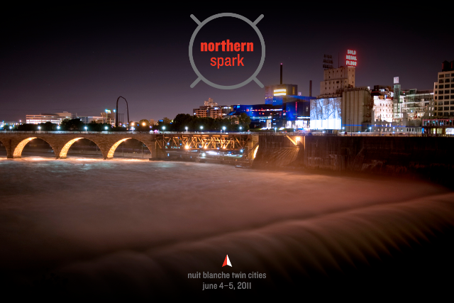 Northern Spark, view across St. Anthony Falls and Stone Arch Bridge to Debora Miller, MURMUR, Gold Medal silos