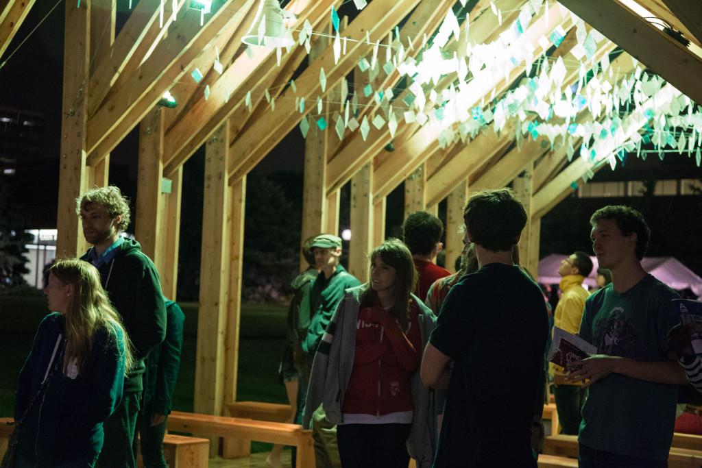 Amanda Lovelee, Christopher Field, Kyle Waites, and Sarah West, Balancing Ground, Convention Center Plaza, Northern Spark 2014. Photo: Kory Lidstrom.
