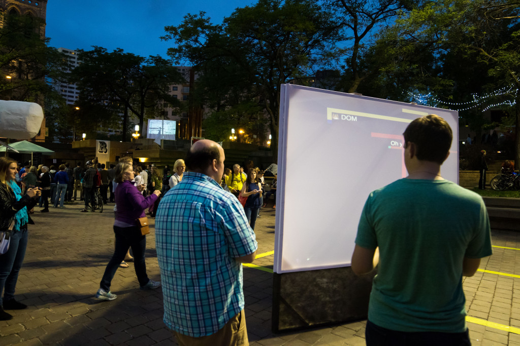 John Kim and Ben Moren, Game Grid, Peavey Plaza, Northern Spark 2015. Photo: Shawn Orton.