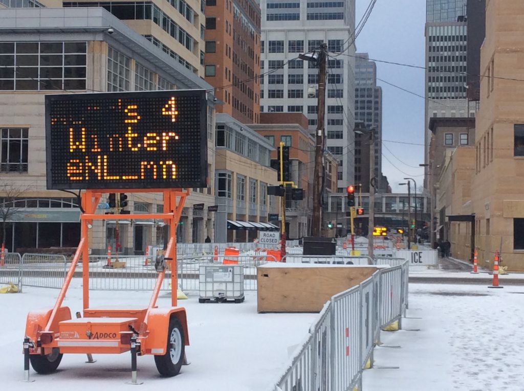 Words for Winter sign, Nicollet Mall