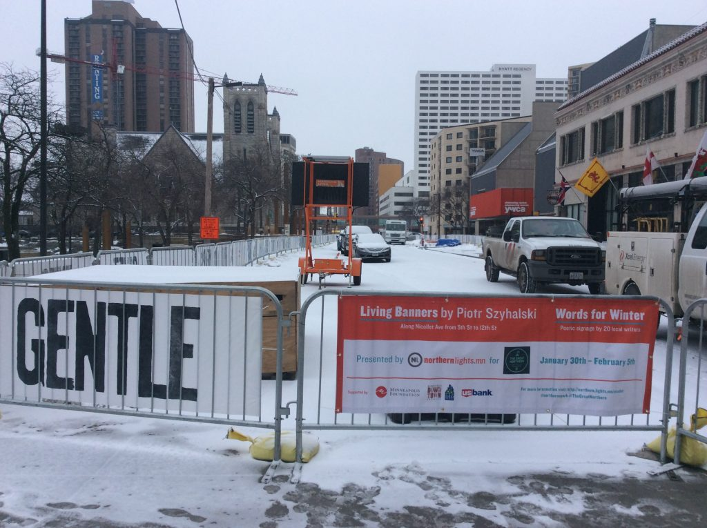 Living Banners and Words for Winter presented by Northern Lights.mn with support from the Minneapolis Foundation, Downtown Council, Downtown Improvement District, and U.S. Bank