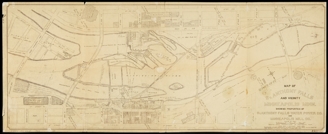 Map of St Anthony Falls and Vicinity. Image courtesy Minnesota Historical Society.