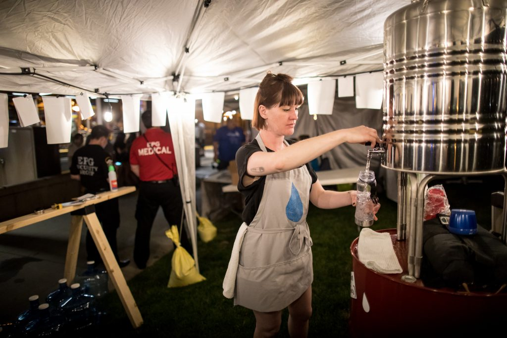 Water Bar & Public Studio, Anthropocene Water Stations, Lowertown, Northern Spark 2017. Photo: Dan Norman.