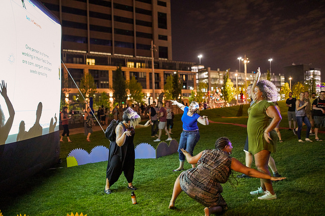 Sara Fowler, Ben Moren and Tyler Stefanich, Collective Action!, The Commons, Northern Spark 2017. Photo: Dusty Hoskovec.