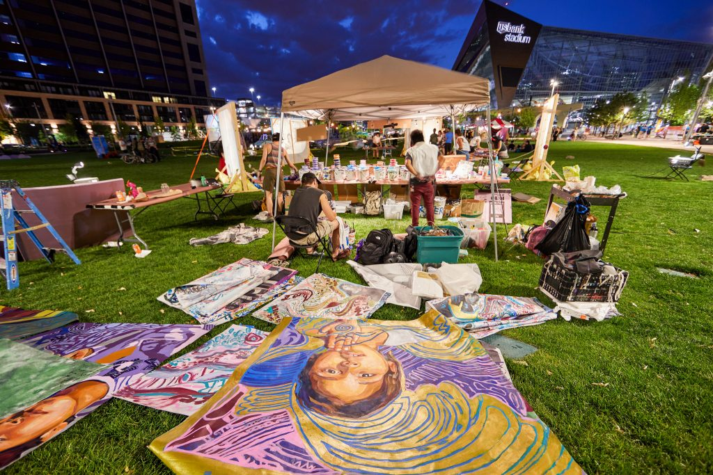 Goodspace Murals, I Am a Water Protector, Northern Spark 2017. Photo: Dusty Hoskovec