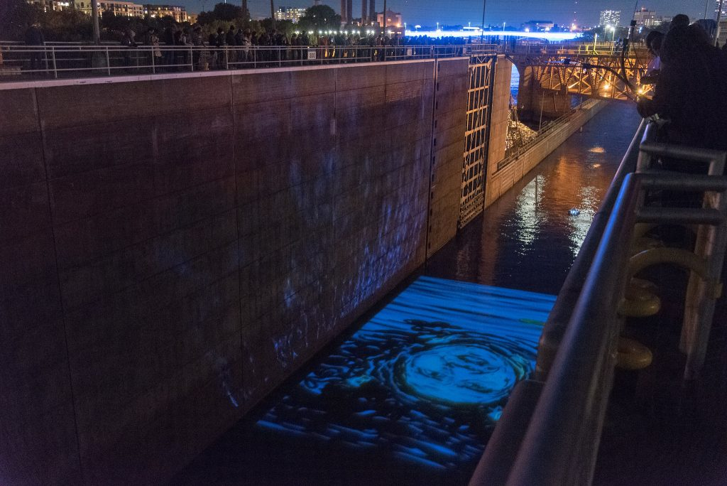 "Mike Hoyt, Molly Van Avery and Dameun Strange, ""Returning the River,"" St. Anthony Falls Lock and Dam, 2017"